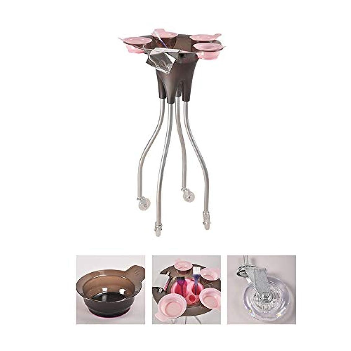 スペイン賞ジュニア4つの車輪が付いている大広間の美容院のトロリー、毛色の染料のボールが付いている美の皿の携帯用実用的なカート、SPAの貯蔵の毛の付属品のホールダー