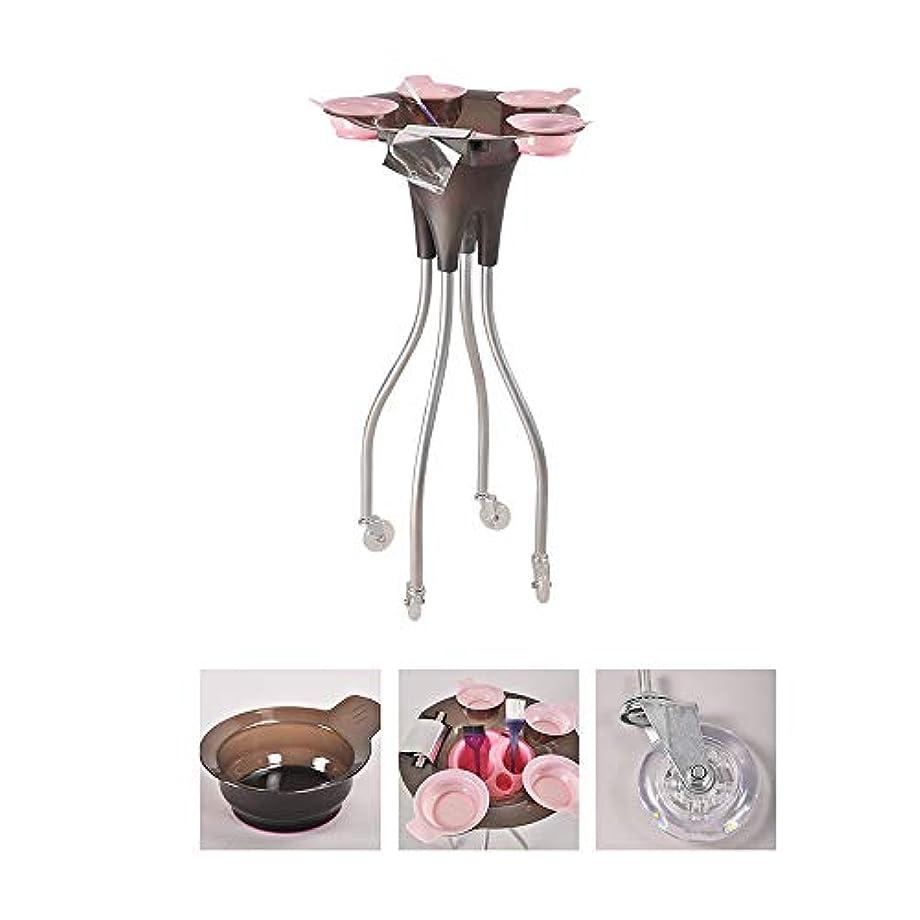 4つの車輪が付いている大広間の美容院のトロリー、毛色の染料のボールが付いている美の皿の携帯用実用的なカート、SPAの貯蔵の毛の付属品のホールダー