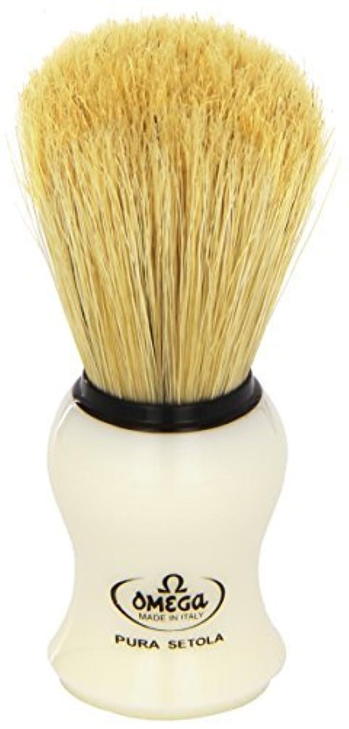 シロナガスクジラシャープ自明Omega #10066 Shaving Brush Mock Ivory Handle [並行輸入品]