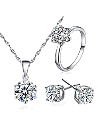 Niome Women's Silver Plated Necklace Earrings Ring Wedding Jewelry Set