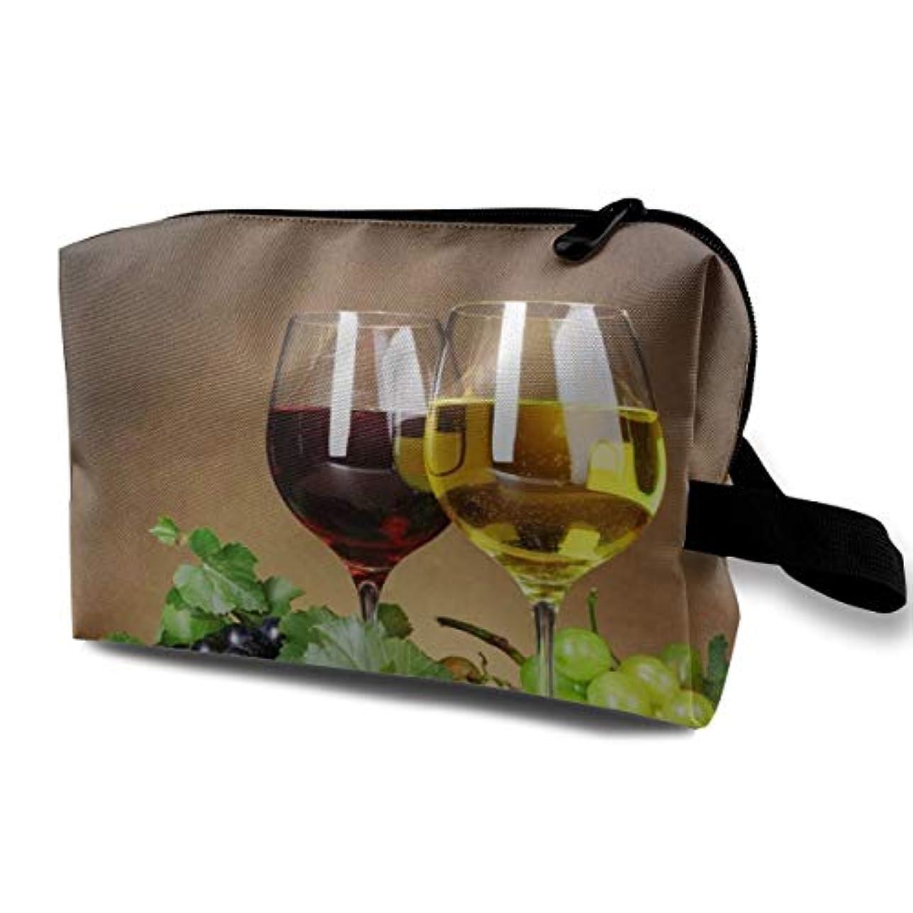 適度に毛皮今日Grape Wine 収納ポーチ 化粧ポーチ 大容量 軽量 耐久性 ハンドル付持ち運び便利。入れ 自宅?出張?旅行?アウトドア撮影などに対応。メンズ レディース トラベルグッズ