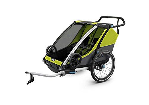 スーリー・チャリオット・キャブ<Thule Chariot Cab 2>ハードボトム・けん引アーム&ベビーカー用前輪&防水レインカバー付属(色:イエロー/ブラック) 2人乗り・スポーツ用途から日常使いまで広範囲をカバーするマルチ・トレーラー大容量積載で保育園送迎最適・サスペンション搭載で快適。特にベビーカーとしての性能が優れています。オプションを付けることで生後1ヶ月から使えます。高剛性、安全を重視する方向けモデル。競合と比べても優位な点が多いです。店長お勧めです!