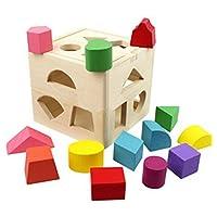 emorefunおもちゃ13穴形状ソーター認知のキューブand Matching木製Toys