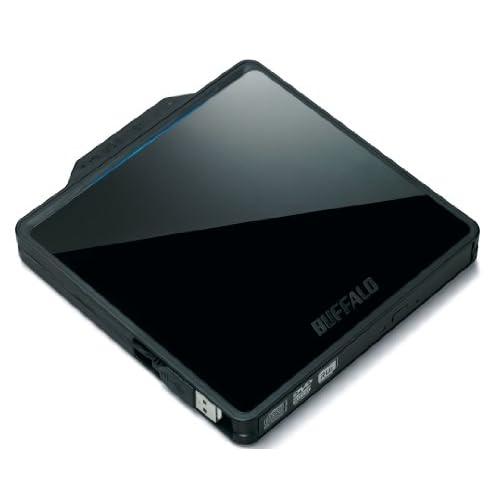 BUFFALO USB2.0用 ポータブルDVDドライブ 書き込みソフト付属 Wケーブル収納タイプ ブラック DVSM-PC58U2V/N