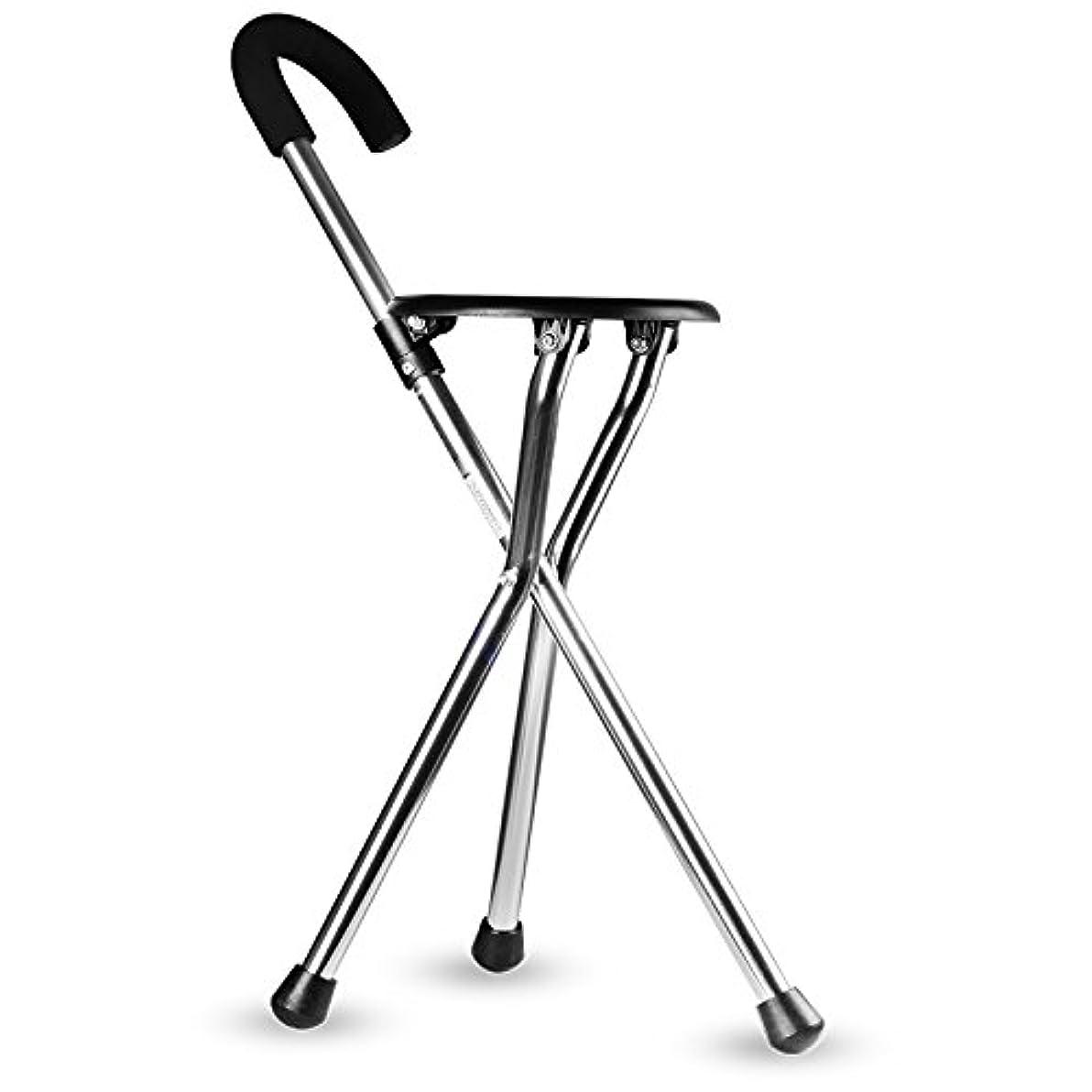はっきりしない電圧測る老人の杖スツール多機能ポータブル折りたたみ軽量ノンスリップアルミ合金ウォーキングスティックチェア,Black