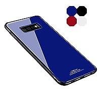 HOUSHINE Samsung Galaxy S10ケース TPU バンパー 背面強化ガラス 背面パネル付き かっこいい サイドバンパー おしゃれ スマホケース サムスン ギャラクシー S10 専用ケース(ブルー)