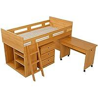 LOWYA (ロウヤ) システムベッド 子供 ベッド すのこベッド 日本製 デスク チェスト ラック 4点セット ナチュラル おしゃれ 新生活