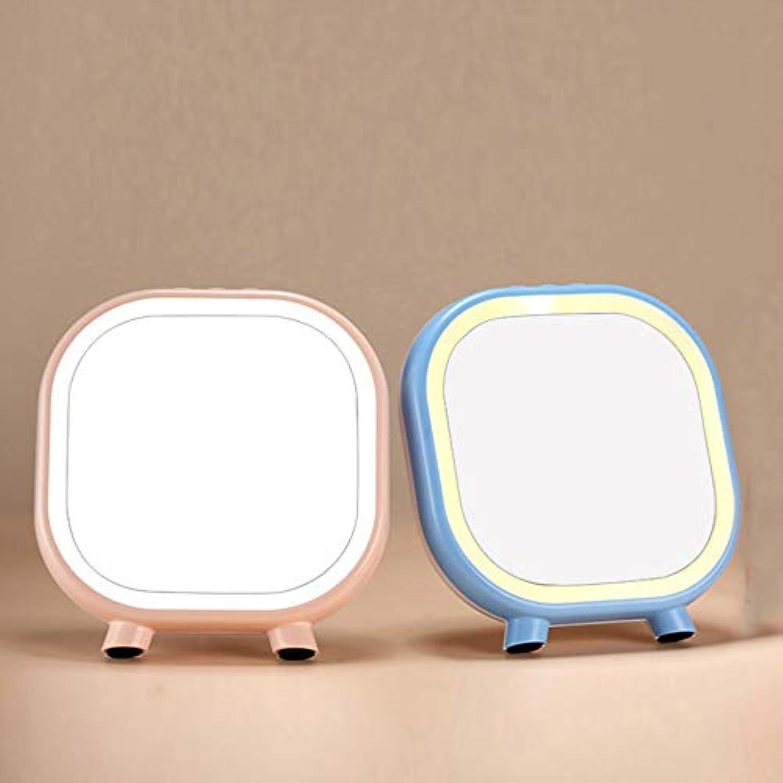 外交問題兵器庫相対性理論流行の クリエイティブ新しいLED照明ブルートゥーススピーカー美容ミラー化粧鏡化粧鏡ABS材料2ブルーブルー (色 : Pink)