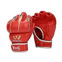 ボクシンググローブ、ハーフフィンガーアダルトレザー三田ファイティングムエタイファイティングプロフェッショナルトレーニングサンドバッググローブ、 (Color : Red, Size : 7OZ)