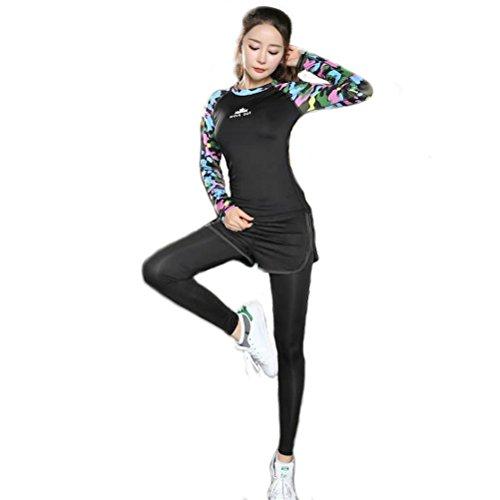 [해외]여성 요가 by Tsmine - 상하 세트 바지 | 셔츠 | 반바지 긴팔 탑 롱 레깅스 위장 검은 화려한/Women`s Yoga Wear by Tsmine - Vested Pants | Shirt | Shorts Long Sleeve Tops Long Leggings Camouflage Black Colorful