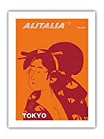 東京、日本 - 芸者 - アリタリア航空 - ビンテージな航空会社のポスター c.1960s - プレミアム290gsmジークレーアートプリント - 30.5cm x 41cm
