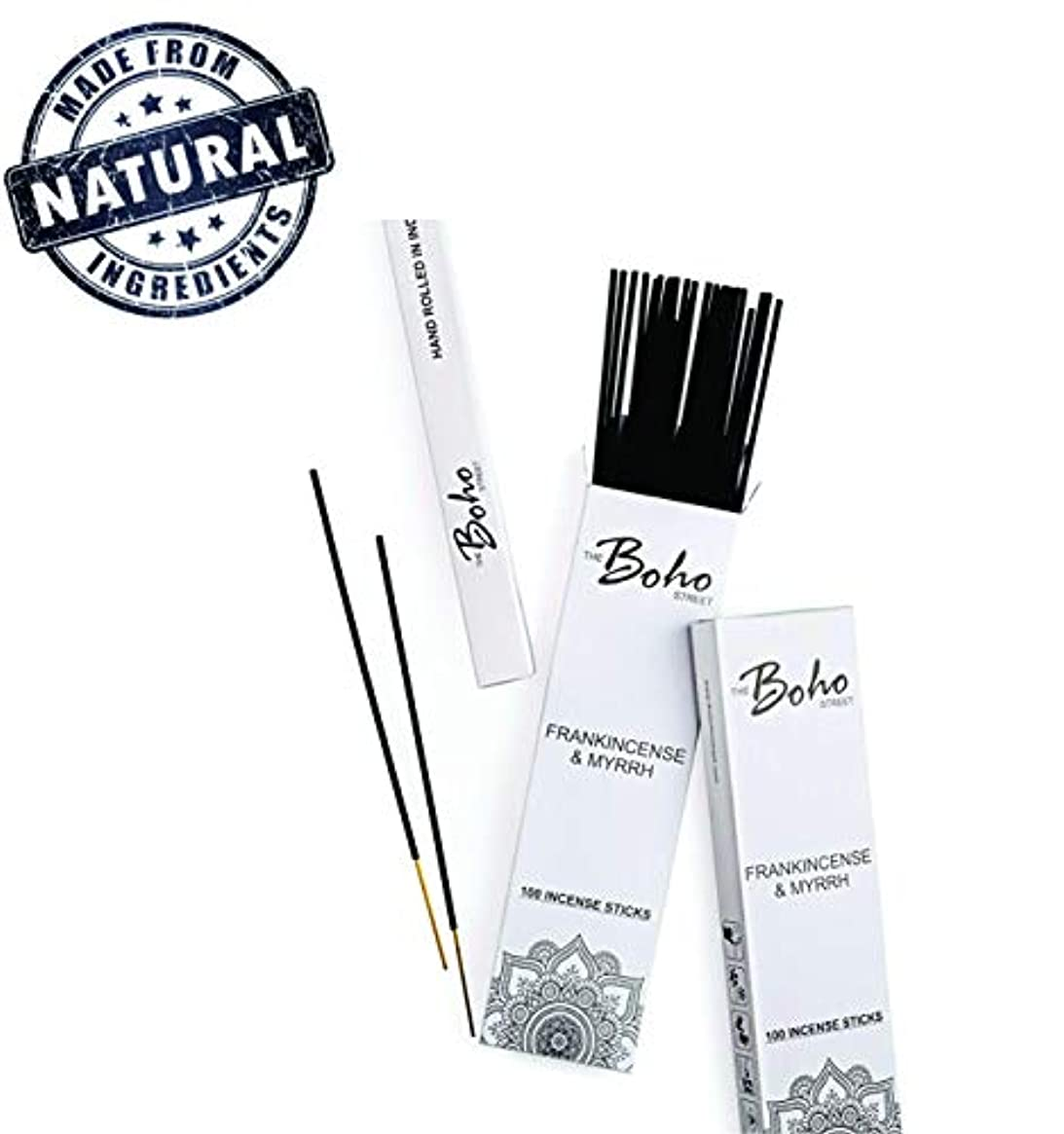 水毎日病者(100) - The Boho Street Premium Incense Sticks - Frankincense and Myrrh 100% Hand Rolled Hand Dipped in India...