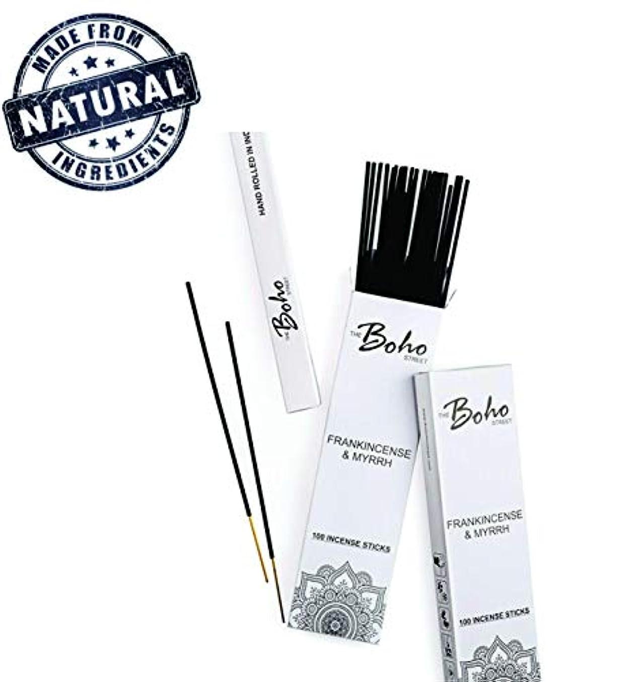 毎週ストッキング皮肉(100) - The Boho Street Premium Incense Sticks - Frankincense and Myrrh 100% Hand Rolled Hand Dipped in India...