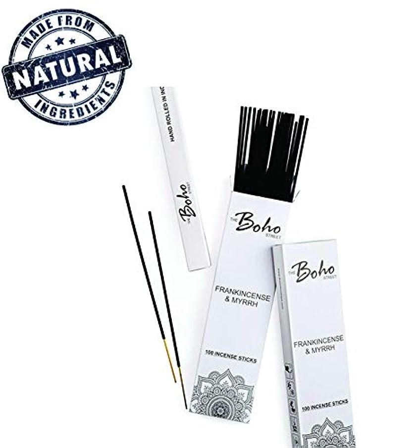 歌ツールサイト(100) - The Boho Street Premium Incense Sticks - Frankincense and Myrrh 100% Hand Rolled Hand Dipped in India 100 Sticks pack (100)
