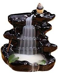 クリエイティブ家の装飾逆流スティック香バーナーセラミック香炉家の装飾使用家茶屋滝香ホルダー (Color : Black, サイズ : 4.33*4.44 inches)