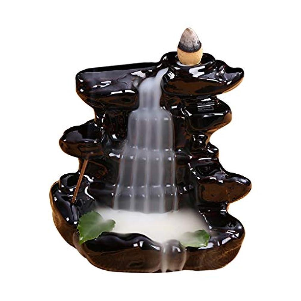 泥沼破産歯科の渓流セラミック香炉バックフロー滝香ホルダーホーム香り装飾香スティックコーンバーナーホルダー (Color : Black, サイズ : 4.33*4.44 inches)