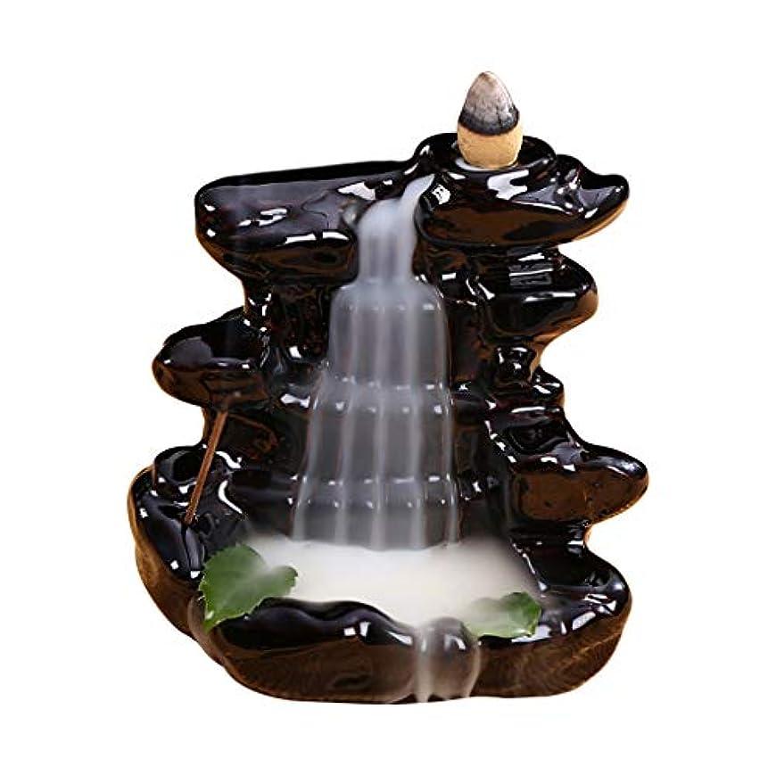 鳩滑りやすい漏れ渓流セラミック香炉バックフロー滝香ホルダーホーム香り装飾香スティックコーンバーナーホルダー (Color : Black, サイズ : 4.33*4.44 inches)