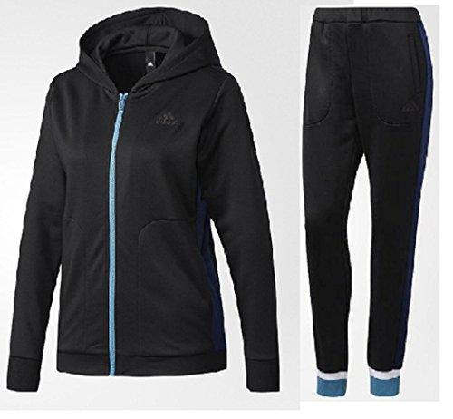adidas アディダス Team スウェット フード付き フルジップジャケット×ロングパンツ 上下 セットジャージ レディースS(152-158) cm 国内正規品 EBT02×06 ブラック