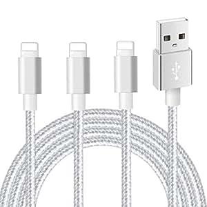 iPhone充電ケーブル ライトニングケーブル 【3本セット 2m+2m+2m】IMITOR 標準仕様 高耐久編組ナイロン 急速充電 アイフォン 充電ケーブル データ転送 柔軟性 iPhone XS/XS Max/XR/X/8/8Plus/7/7 Plus/6s/6s Plus/5s/5/iPad/iPod 各種対応(銀)