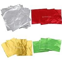 Blesiya 4色x100枚 ホイルラッパー パッケージ お菓子 チョコレート アルミ箔 DIY