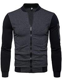 Keaac メンズファッションフルジップスタンドカラーカラーブロックアウトウェアジャケット