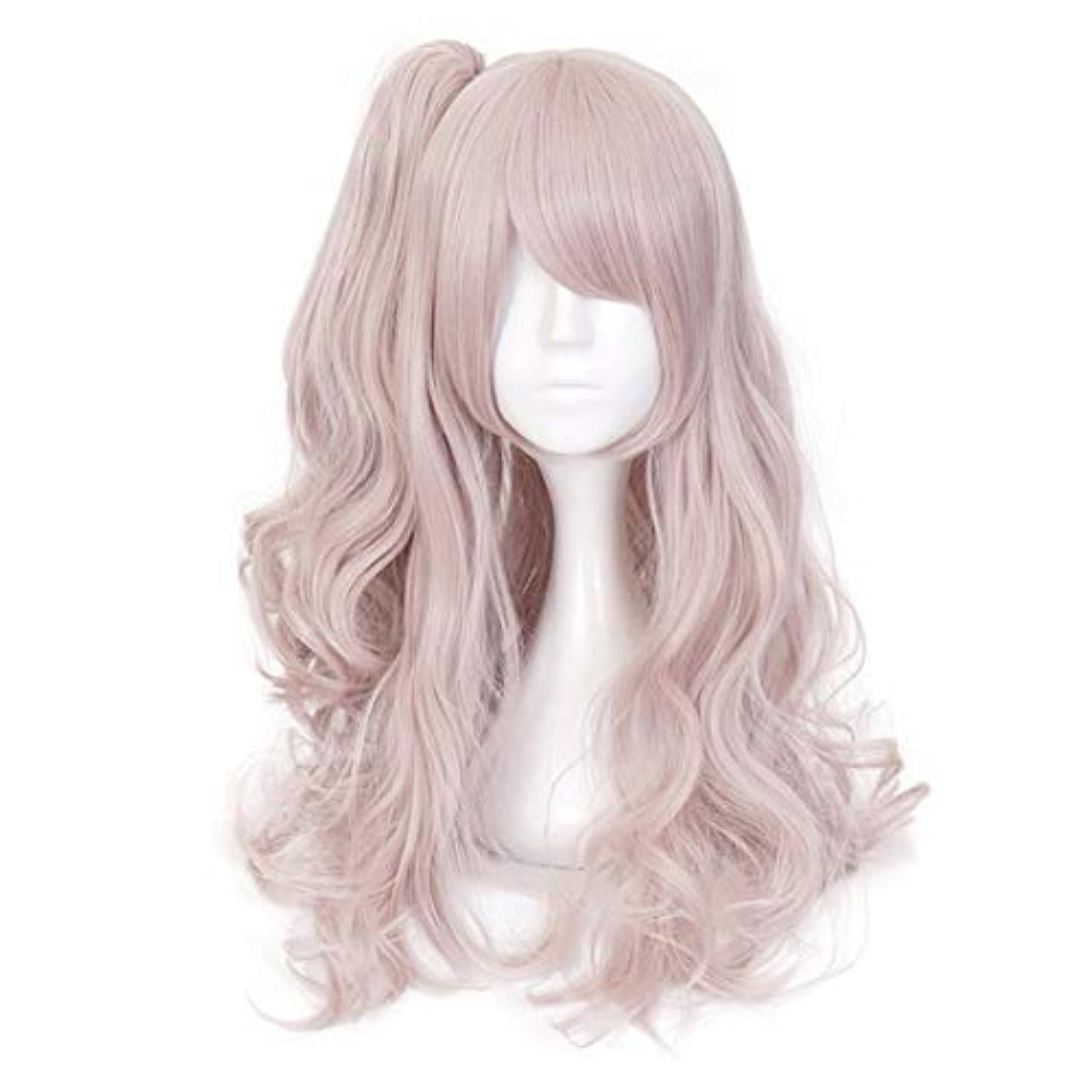 自体水素マイコンKoloeplf ロングカーリーグラデーションピンクラブリーガールコスプレウィッグフル人工毛アニメヘア (Color : Pink)