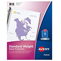 (Standard, 10 Sheet Protectors, Clear) - Avery Standard Weight Sheet Protectors, Pack of 10 Sheet Protectors (75540)