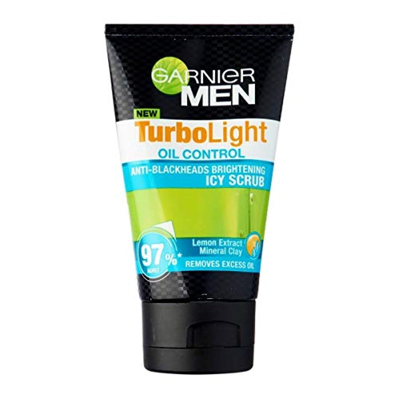 プログレッシブ特許病んでいるGarnier Men turbolight オイルコントロールアイシースクラブ 50ml-毛穴取り除くマイクロ研磨ビーズ、このスクラブは、余分な油を除去し、目に見える黒ずみを減少させ、暗い斑点を明るくします。