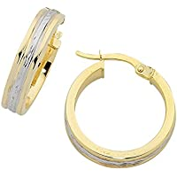 Bevilles 9ct Yellow Gold Silver Infused Two Tone Hoop Earrings
