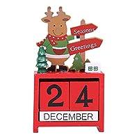 Creacom クリスマス 飾り カレンダー 置物 卓上 玄関 木製 可愛い 多色 部屋飾り クリスマス飾り 装飾グッズ クリスマスツリー サンタクロース トナカイ 雪だるま 繰り返し使用 贈り物 (ホワイト)