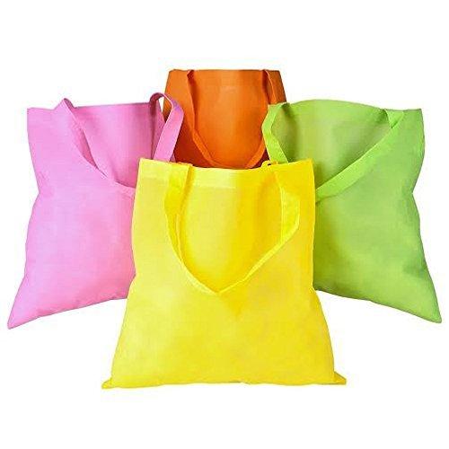 50 pcs assortedカラー不織布Polypropelyneトートバッグ