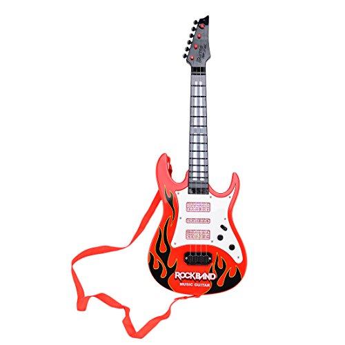 玩具ギター HAOUN エレキギター 初心者セット 子供用 キッズギター 4弦ミニギター LED キッズ楽器 楽器玩具 知育玩具 教育玩具 - レッド2
