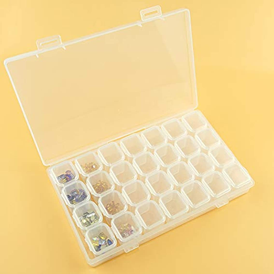 香りくるくる第二hamulekfae-透明28コンパートメントネイルアートラインストーンジュエリー装飾収納ボックス - 透明Transparent