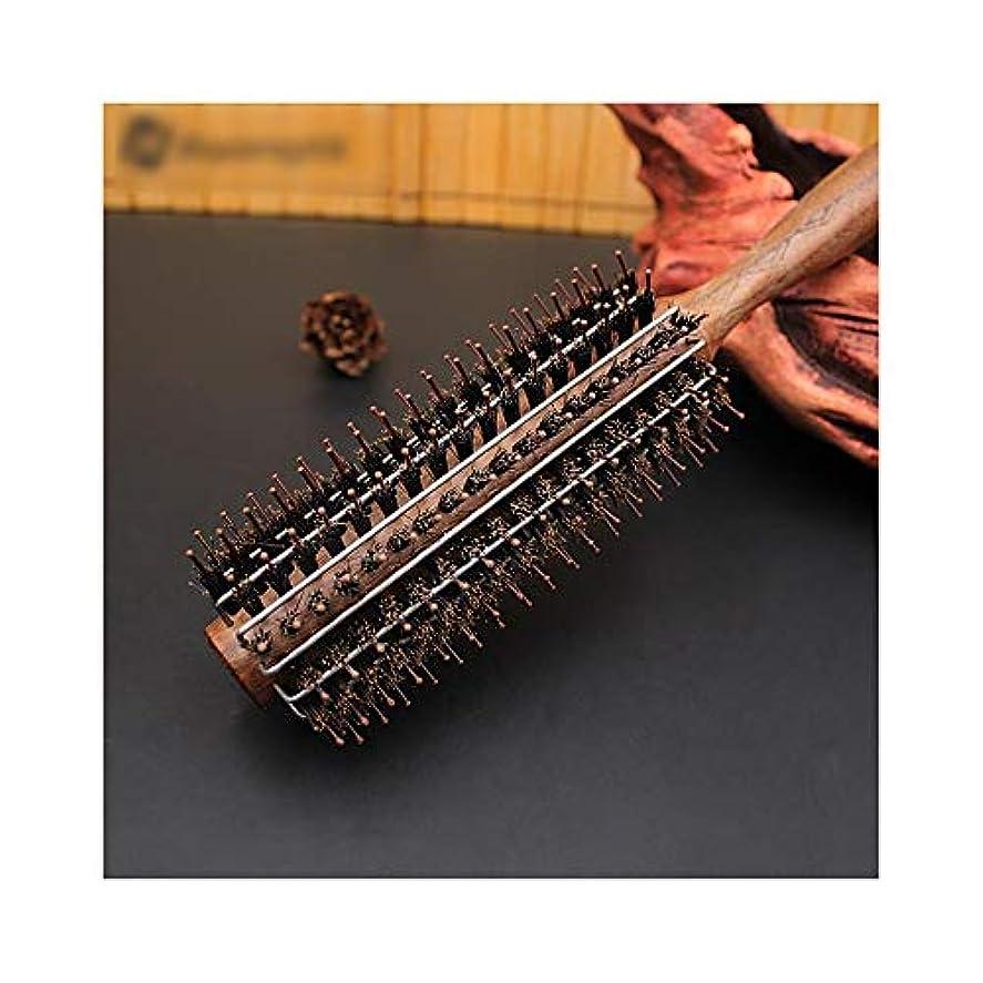 ACHAOHUIXI 黒いクルミの櫛の木製のハンドルの圧延のブラシ、女性及びメンズのための帯電防止巻き毛の櫛 (サイズ : M)