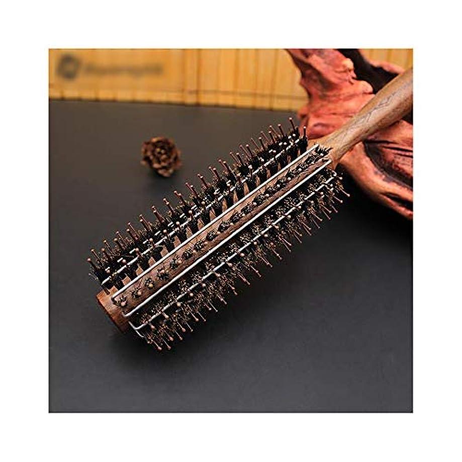 角度トリムかすれたXiongdeisix 黒いクルミの櫛の木製のハンドルの圧延のブラシ、女性及びメンズのための帯電防止巻き毛の櫛 (サイズ : L)