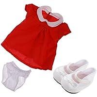 Lovoski 3件 ワンピース半袖 パンツ シューズ 人形の飾り 18インチアメリカンガール人形適用 贈り物