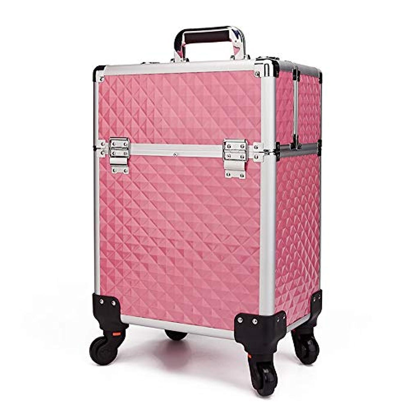 女の子クレーン没頭する化粧オーガナイザーバッグ 360度ホイール3イン1プロフェッショナルアルミアーティストローリングトロリーメイクトレインケース化粧品オーガナイザー収納ボックス用ティーンガールズ女性アーティスト 化粧品ケース (色 : ピンク)
