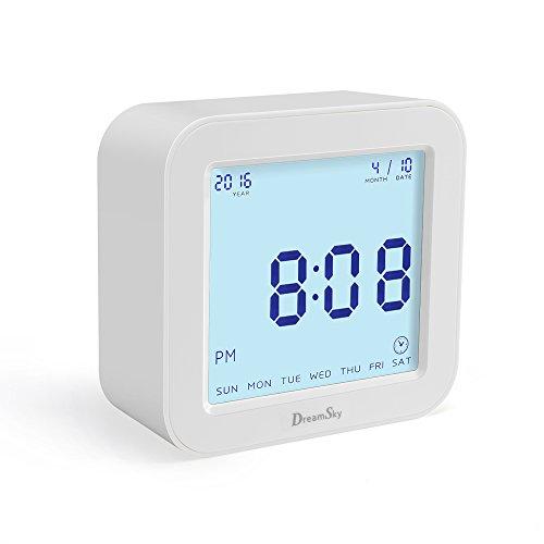 DreamSky(ドリームスカイ) 大音量 デジタル 目覚まし時計 機能回転切替 音量調整機能 自動点灯 温度表示 置き時計 おしゃれ アラームクロック(ホワイト)