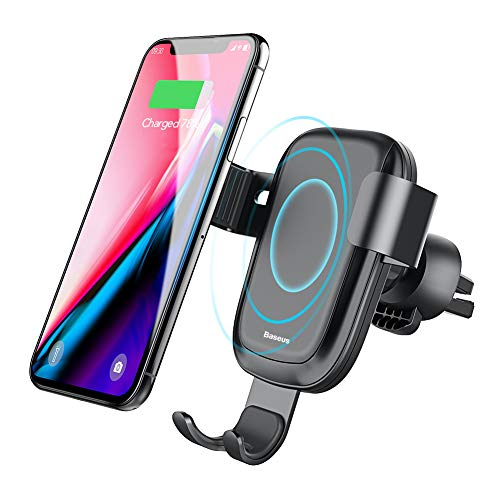 Qi ワイヤレス 充電器 車載 エアコン吹き出し口 Baseus 車載ホルダー qi ワイヤレス充電器 360度回転 QC2.0/3.0 急速充電 重力原理で自動調節 iPhone X/8/8 Plus/ Galaxy S8/S8 Plus/S7/S7 Edge/S6/S6 Edge/Note 8/Note 5/Nexus 5/6 対応(黒)
