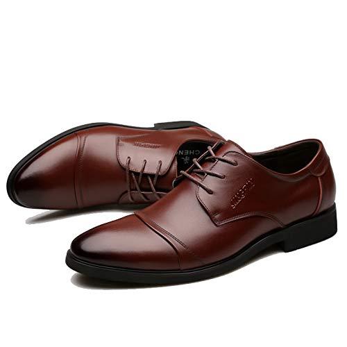 Fengbao 革靴 ビジネスシューズ メンズ シークレット 本革 6cm UP レースアップ 靴 通勤 カジュアル 屈曲性 (24.0cm, ブラウン)