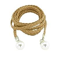 女性のための真珠の装飾カジュアルスタイル編組ウエストベルト女性のベルトドレス装飾服アクセサリー&パーツ、ゴールド