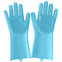 2PCSマット手袋食器洗い洗浄シリコンゴムソフト毛皮キッチンツールカラーランダム