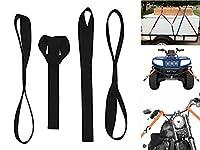 ZYTC 4個 タイダウンベルトソフトフックソフトループストラップ ATV、UTV、スノーモービル、オートバイ&ダーツバイク 2.5cm x 46cm (ブラック2.5cmx46cm)