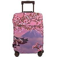 富士山の桜 スーツケースカバー 伸縮弾性素材 スーツケース保護カバー ラゲッジカバー 通気性 傷防止 防塵カバー S-XL