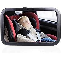 AutoEC 車用 ベビーミラー インサイトミラー 曲面鏡 360度調節可能 後部座席の様子がすぐ分かる 赤ちゃん、子供の安全