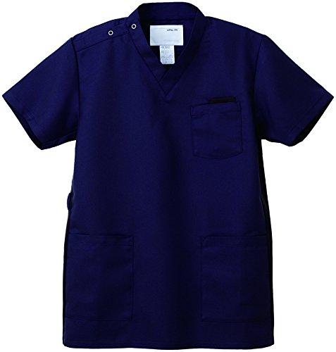 ナガイレーベン スクラブ(男女兼用) 医療白衣 半袖 ネイビー SS RT-5062