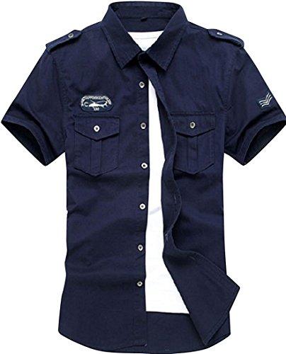 kimurea select メンズ 半袖 シャツ カーゴ ミリタリー カットソー ジャケット 上着 (XLサイズ, ネイビー)
