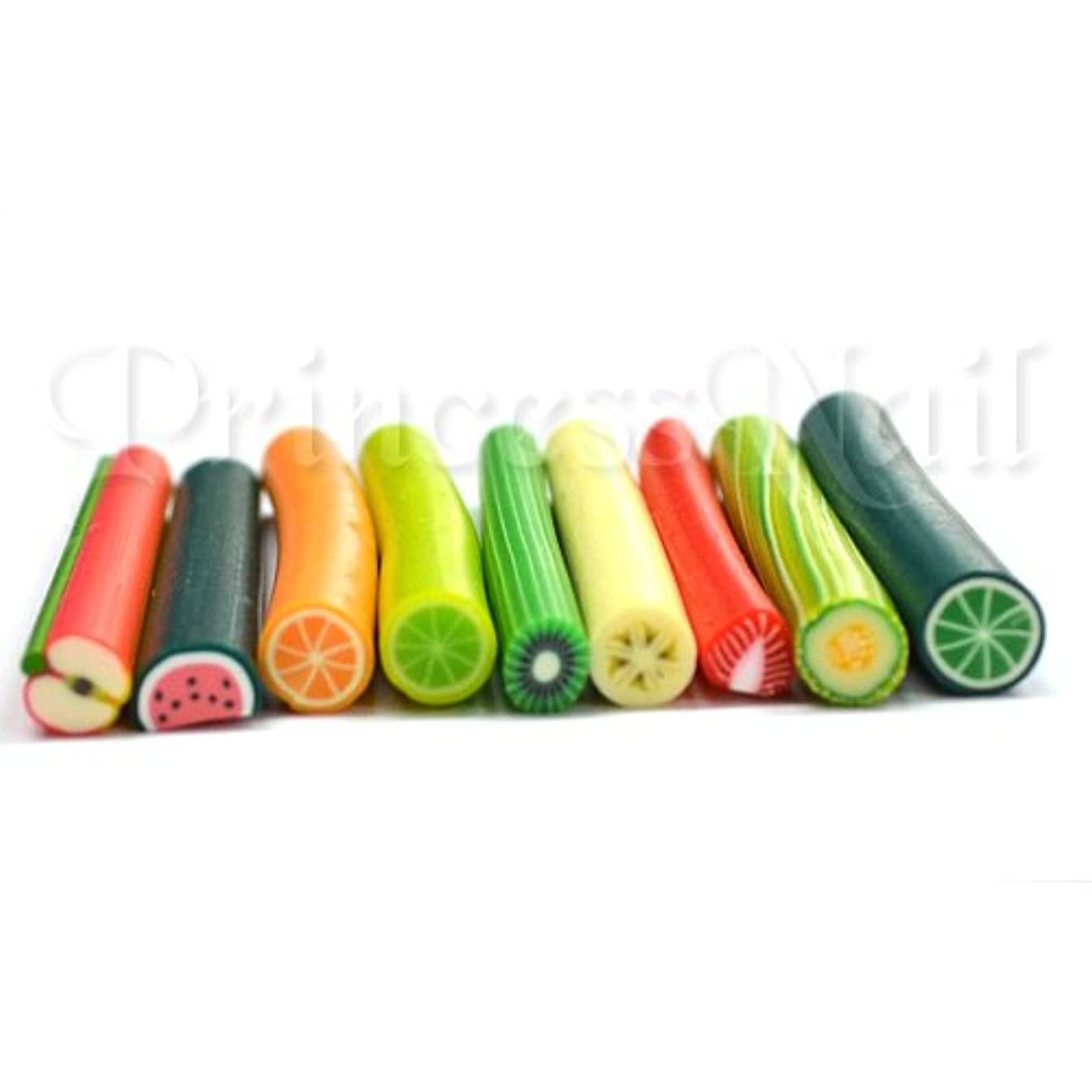 フルーツ棒9種類セット 長さ約5cm直径平均5mm 薄くスライスして爪やデコに!