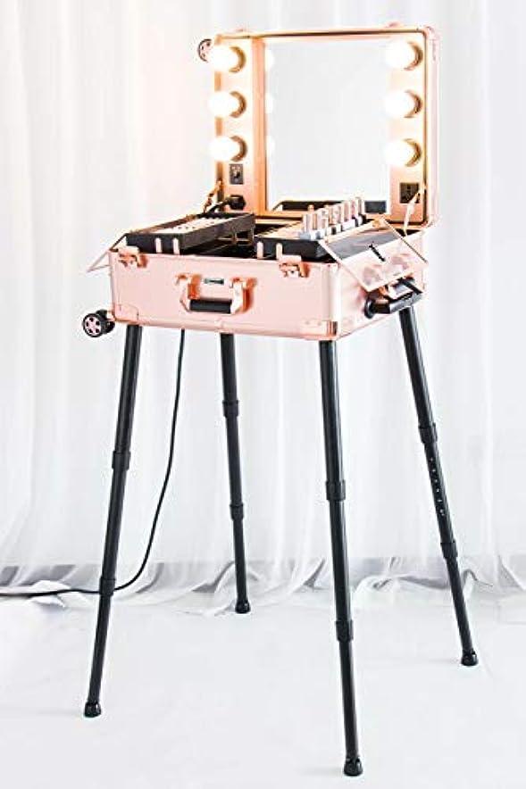 革新寂しい湖Kemier 頑丈な化粧ケースプロ アーティスト スタジオ化粧列車4つ ローリングホイール&ライト付きテーブル&ミラープロ メイクアップステーションカバーボードと簡単にきれいな拡張トレイ調整可能な足 腰椎クッション-2412 ローズゴールド