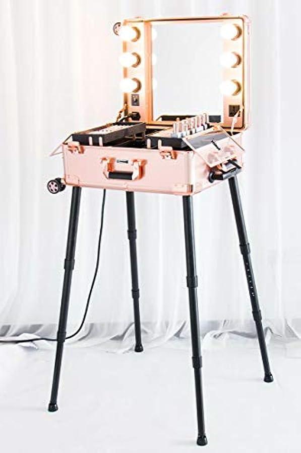 到着する乳製品アンビエントKemier 頑丈な化粧ケースプロ アーティスト スタジオ化粧列車4つ ローリングホイール&ライト付きテーブル&ミラープロ メイクアップステーションカバーボードと簡単にきれいな拡張トレイ調整可能な足 腰椎クッション-2412...